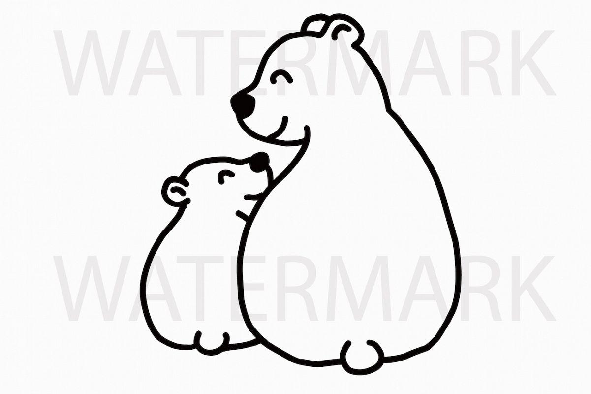 Mama Bear And Bear Cub Sitting And Smil