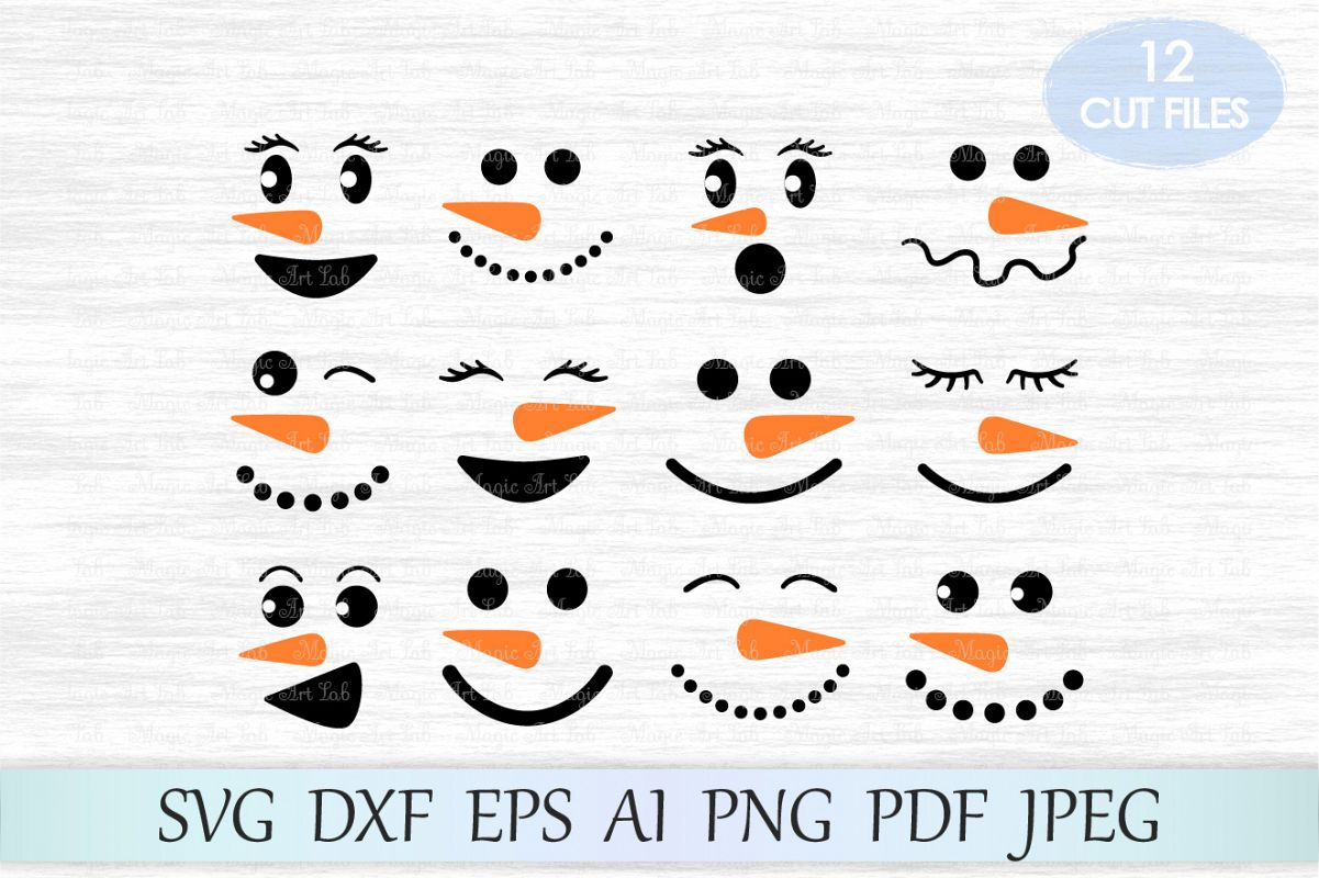 Snowman Faces Svg Snowman Svg Christm