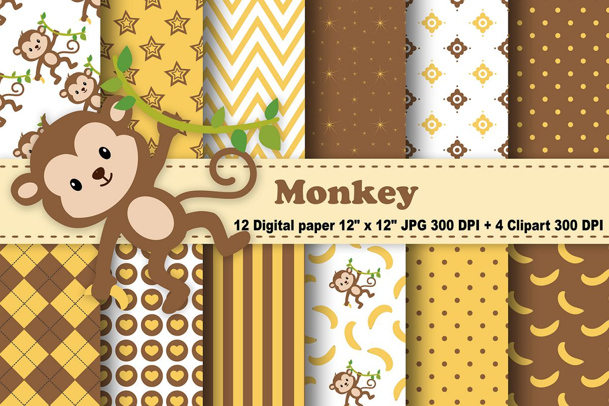 Monkey Digital Paper Animals Backgroun