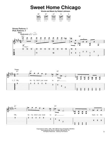 Download and print sweet home chicago sheet music for bass (tablature) (bass guitar) by robert johnson. Sweet Home Chicago By The Blues Brothers Robert Johnson Digital Sheet Music For Easy Guitar With Tab Download Print Hx 15829 Sheet Music Plus