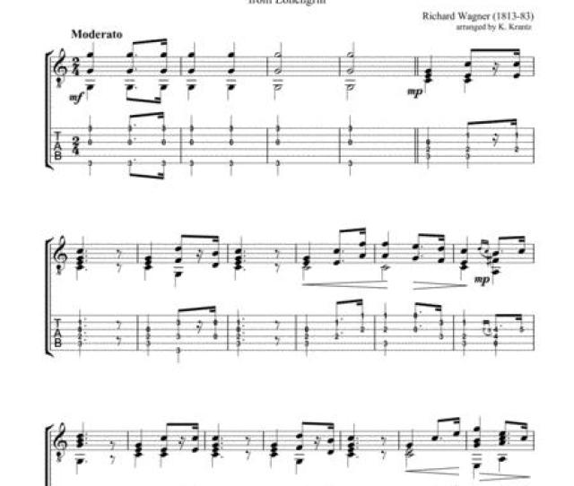 Bridal Chorus Here Comes The Bride For Easy Guitar Solo Tab