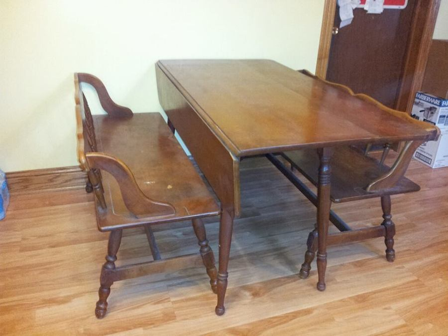 Tell City Drop Leaf Dining Table W Benches My Antique