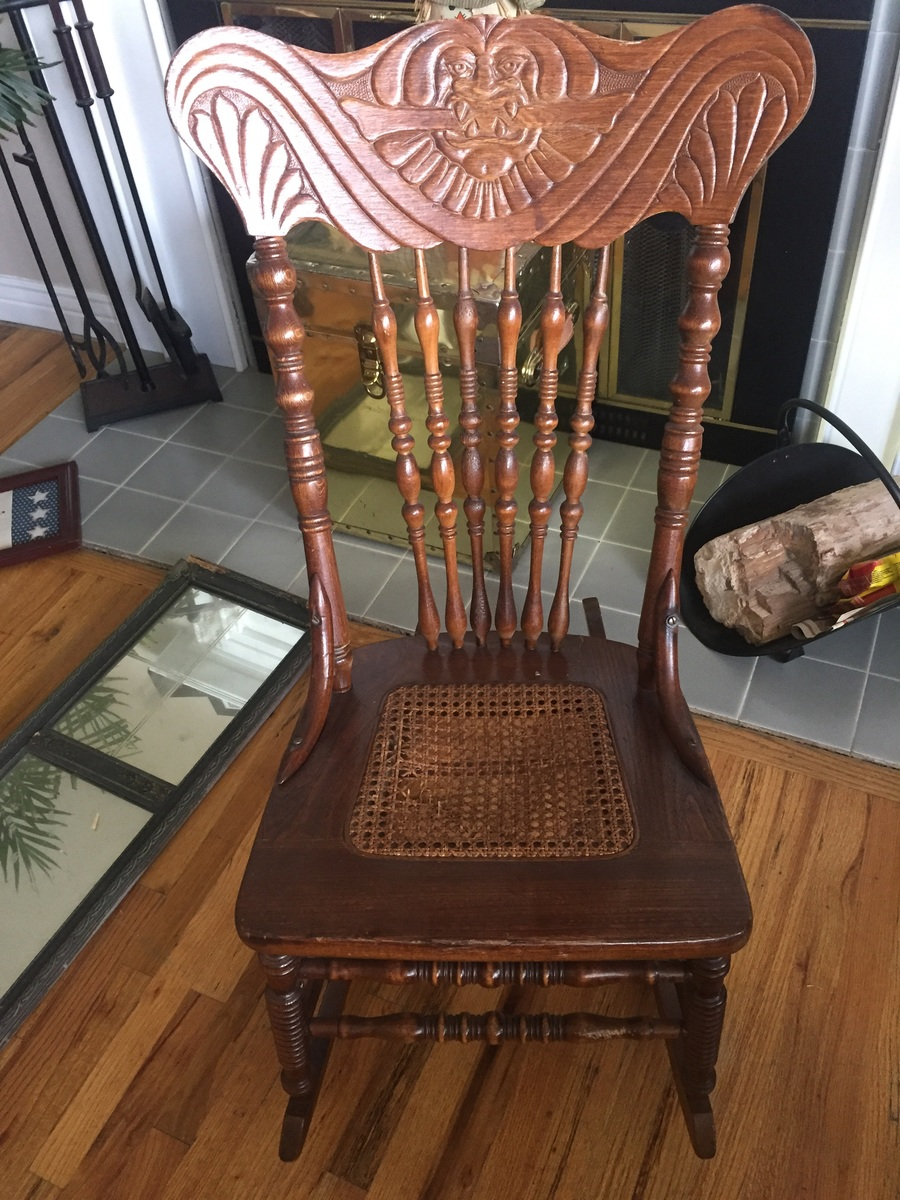 Old Rocking Chair Without Arms And Cane Seat My Antique