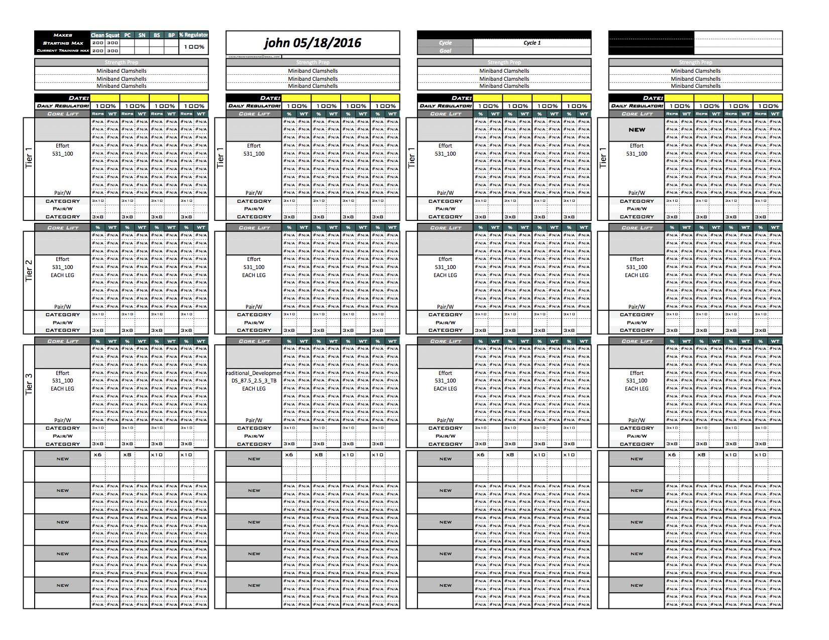 Platinum Strength Amp Conditioning Excel Template