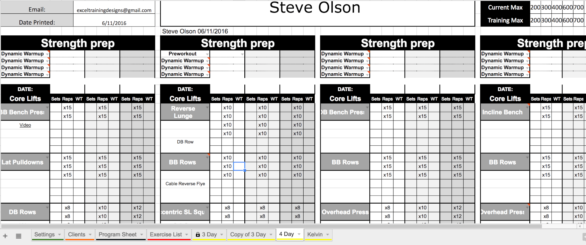 Excel Personal Training Templates