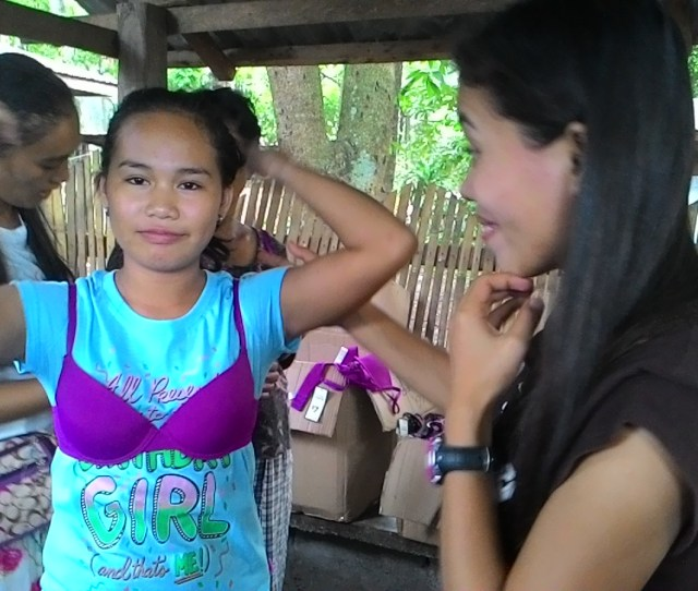 Girls In Mindanao Trying On The Donated Bras Collected By The Uplift Project In 2016