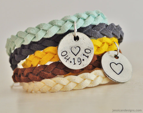 Personalized Braided Suede Bracelet with Custom Hand Stamped Pewter Charm - Customize your own