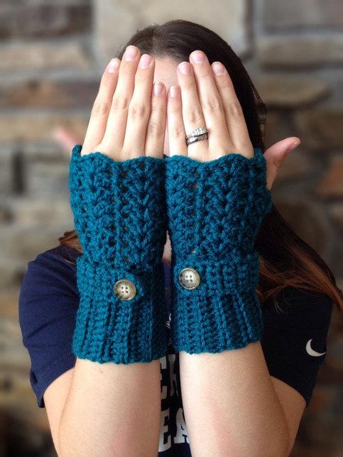 Lace Fingerless Gloves Wrist Warmers Crochet Winter