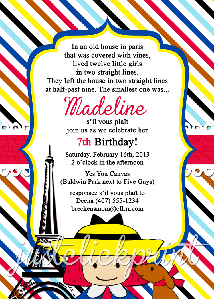 Madeline French Paris Birthday Invitation Printable Just