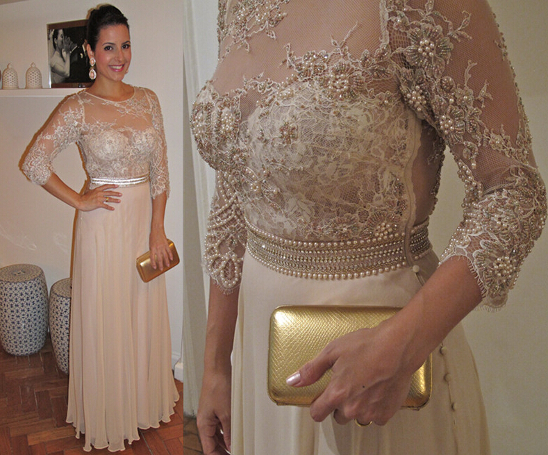Beaded Prom Dresses , Champagne Evening Dresses , Piping