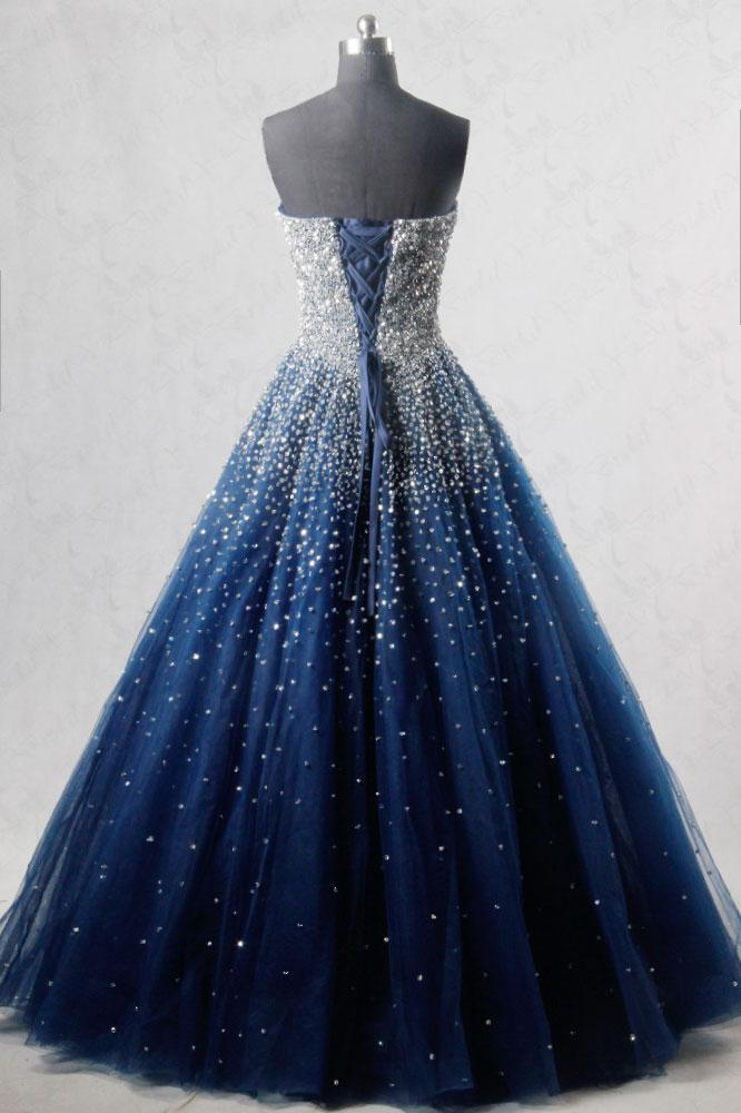 Sparkly A Line Strapless Navy Blue Tulle Long PromEvening