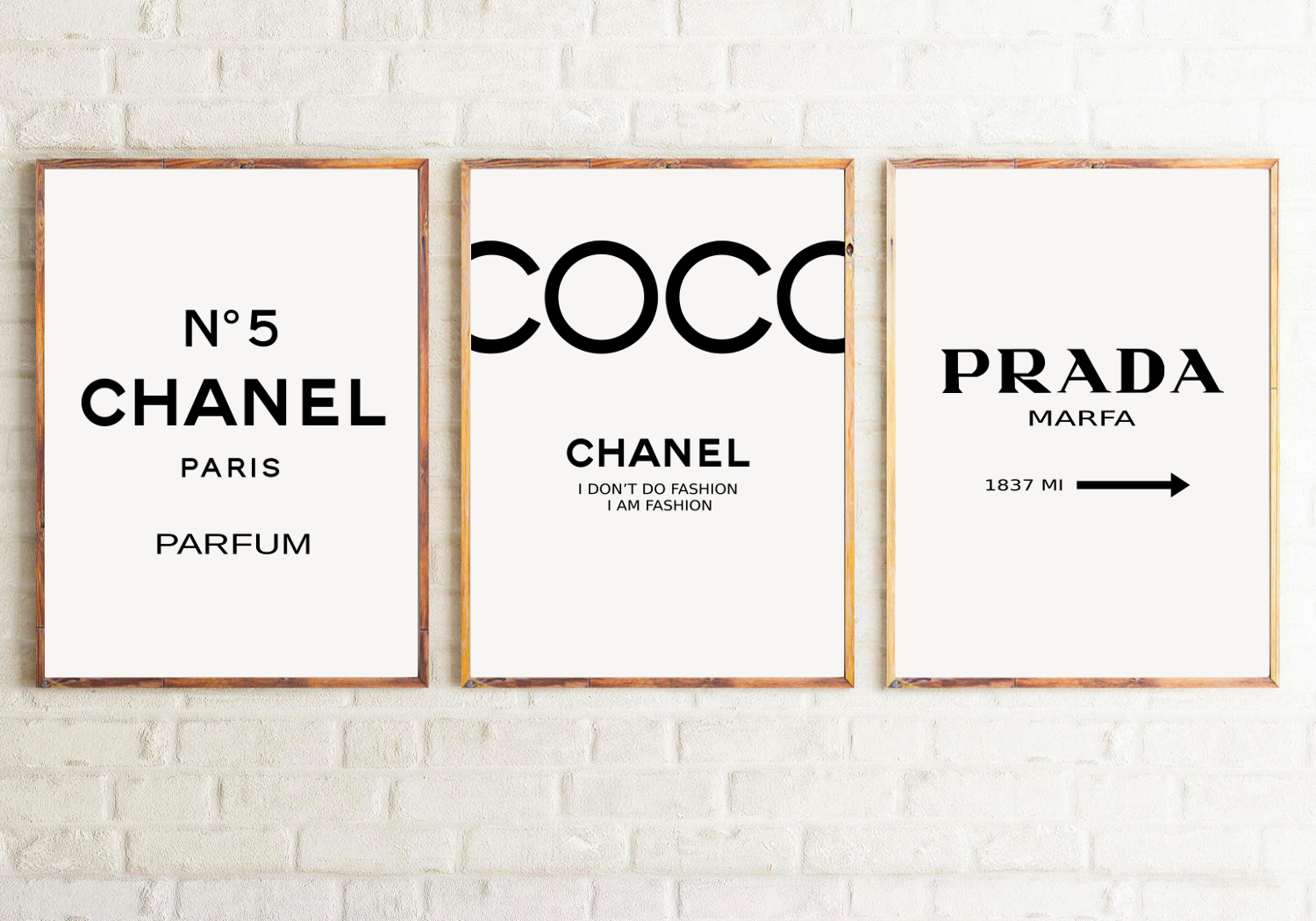 set of 3 inspired coco chanel art print