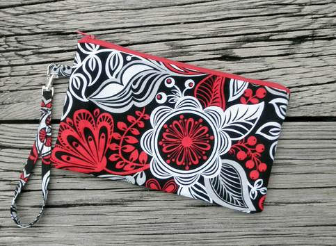 Red, Black, and Grey Flower Wristlet