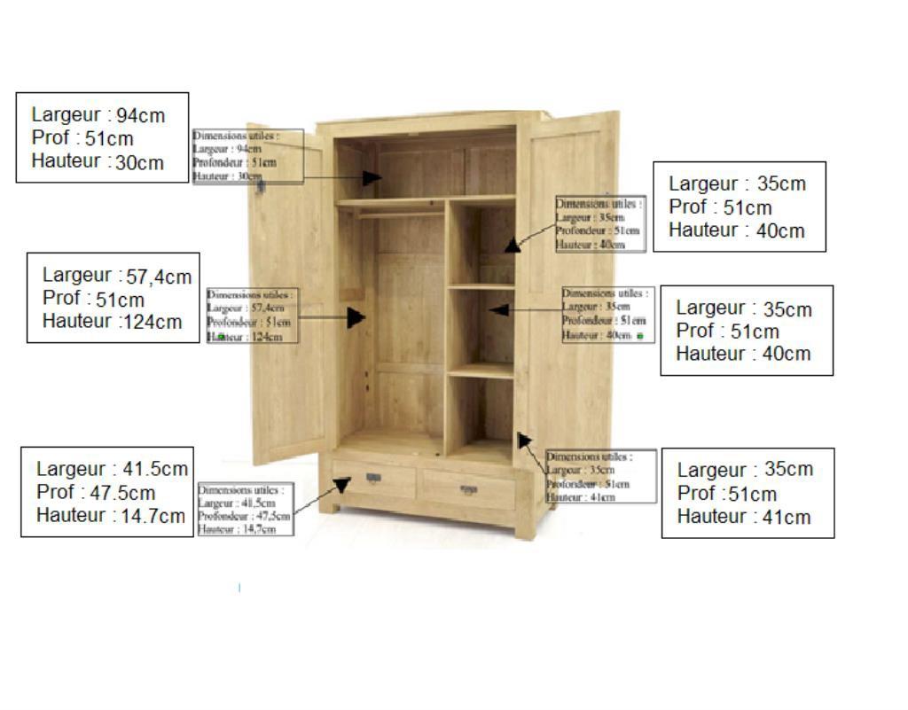armoire bois d hevea avec penderie helena