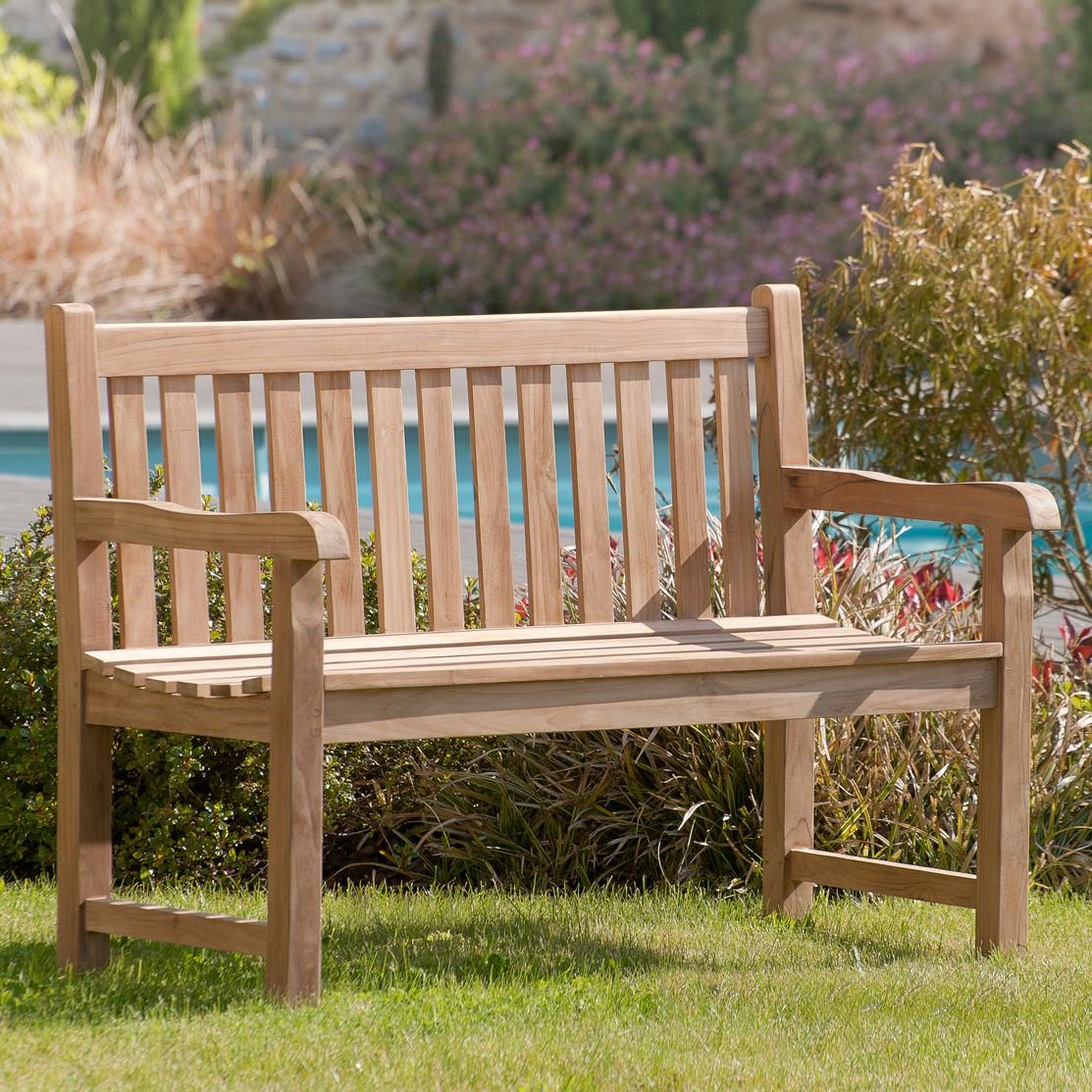 banc de jardin en teck brut massif 120cm summer chaises fauteuils bancs exterieurs pier import