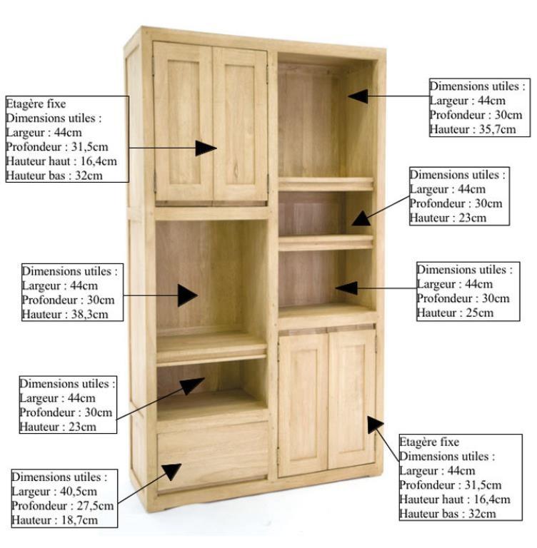 bibliotheque 4 portes 1 tiroir hevea 100x150cm olga