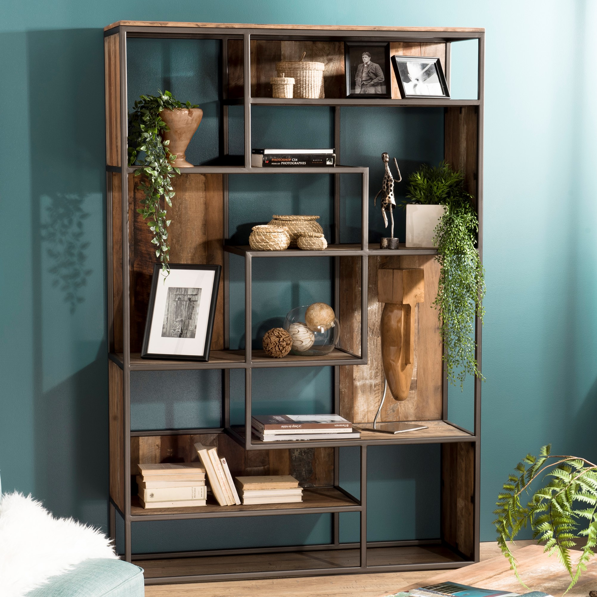 bibliotheque etagere teck recycle swing