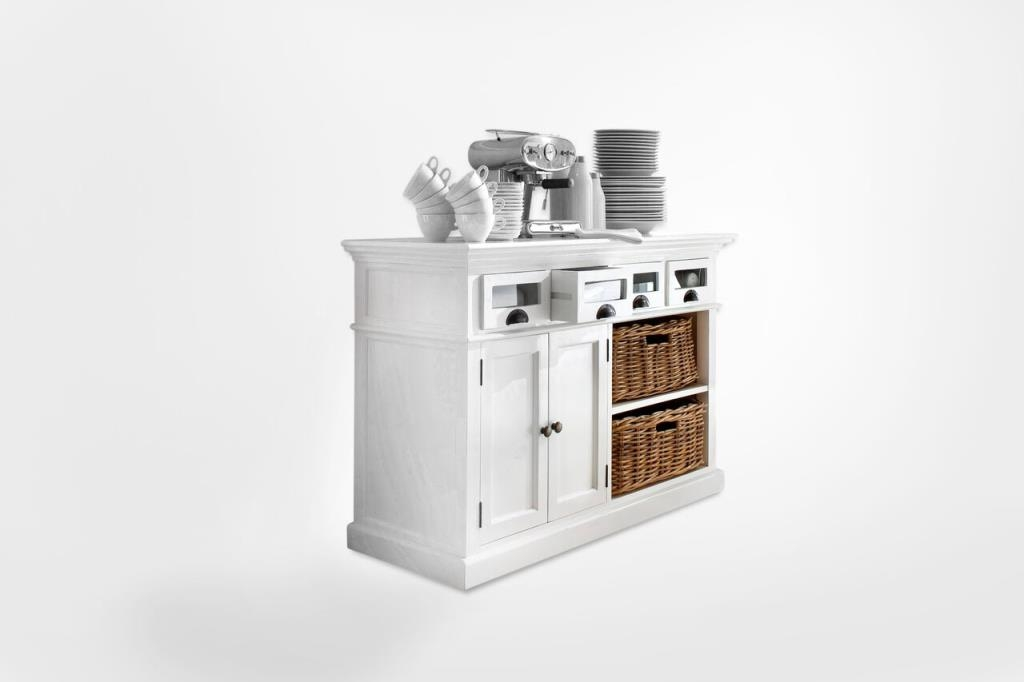 buffet cuisine bois blanc 4 tiroirs 2 portes acajou 2 paniers rotin 125x85cm royan