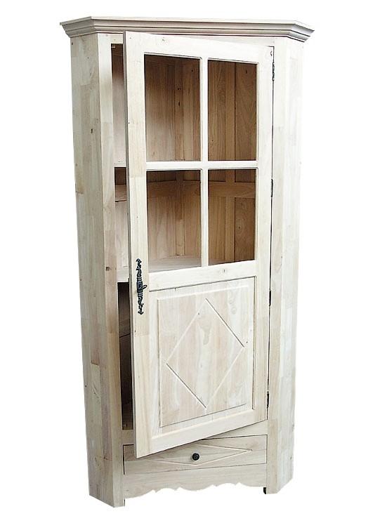 buffet vaisselier d angle hevea 1 porte partie haute vitree 1 tiroir 96x60x190cm tradition