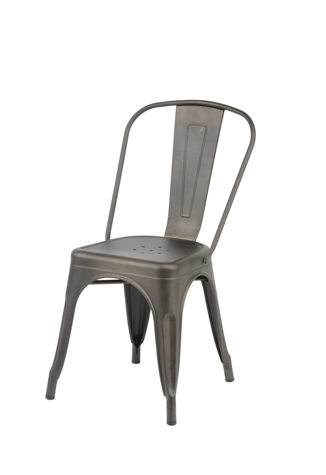 chaise bistrot metal grise ralf lot 2 chaises pier import