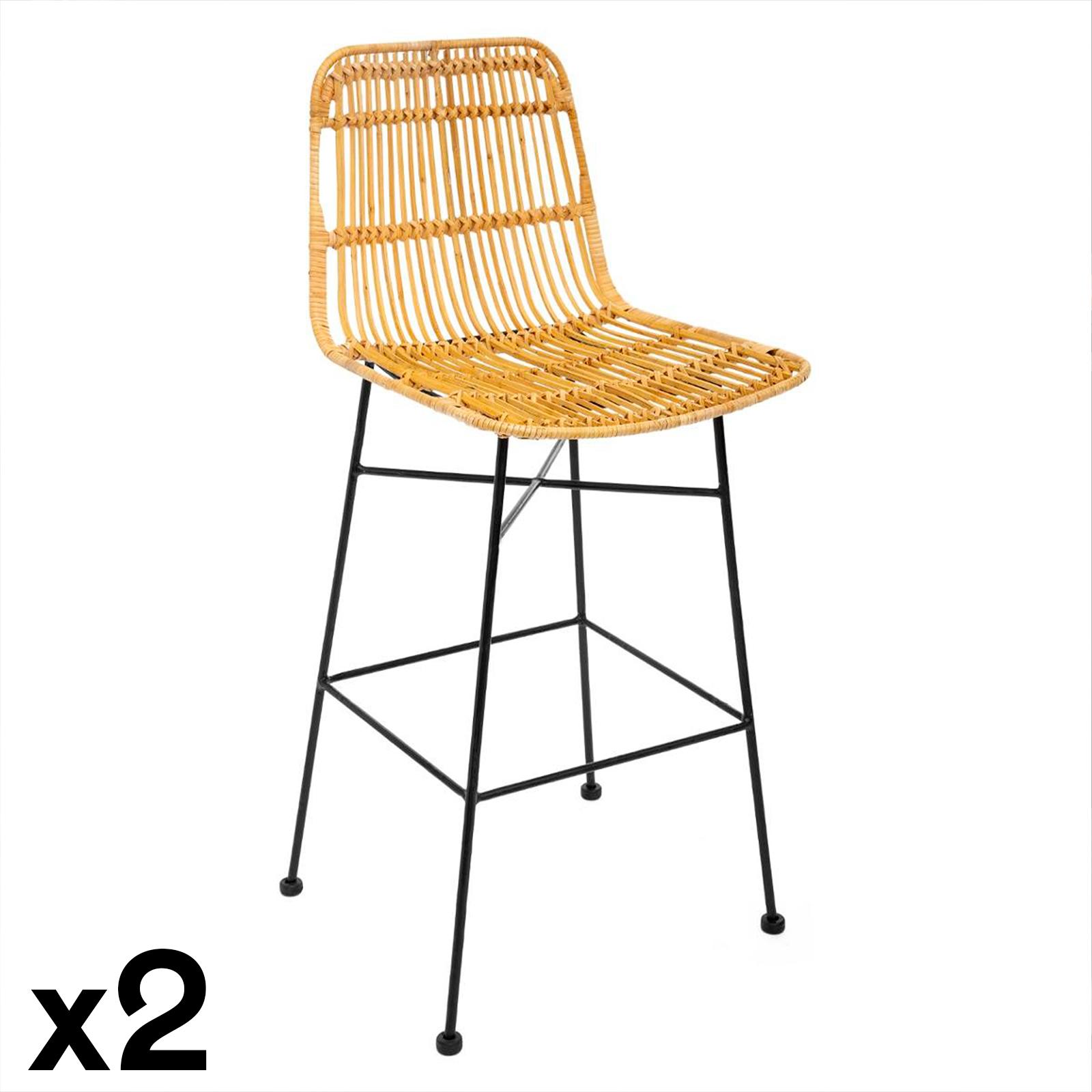 chaise de bar en rotin kubu lot de 2