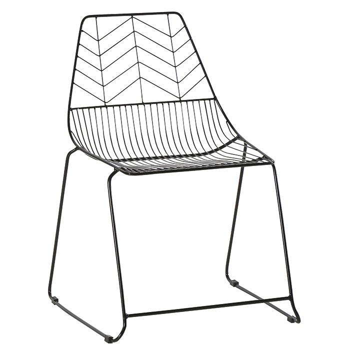 chaise noire graphique en metal vulcan lot de 2