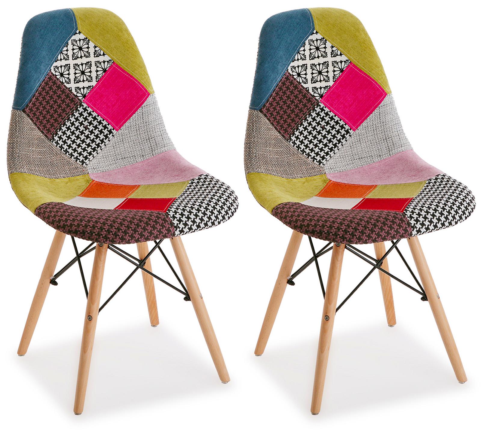 chaise scandinave patchwork mix tissus 1 lot de 2