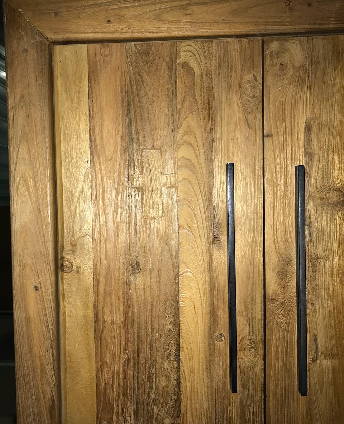 colonne buffet haut en teck massif naturel recycle 2 portes 3 tiroirs 1 niche 80x41x200cm kerala