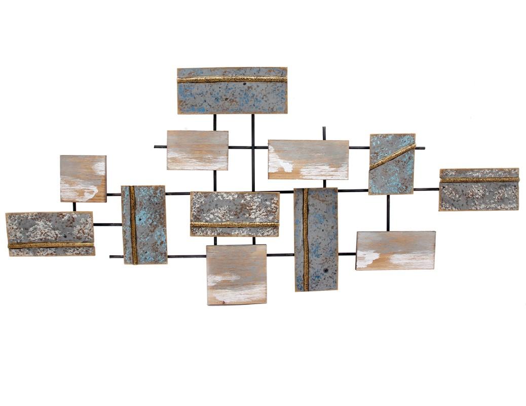decoration murale rectangles metal colore avec ajouts bois