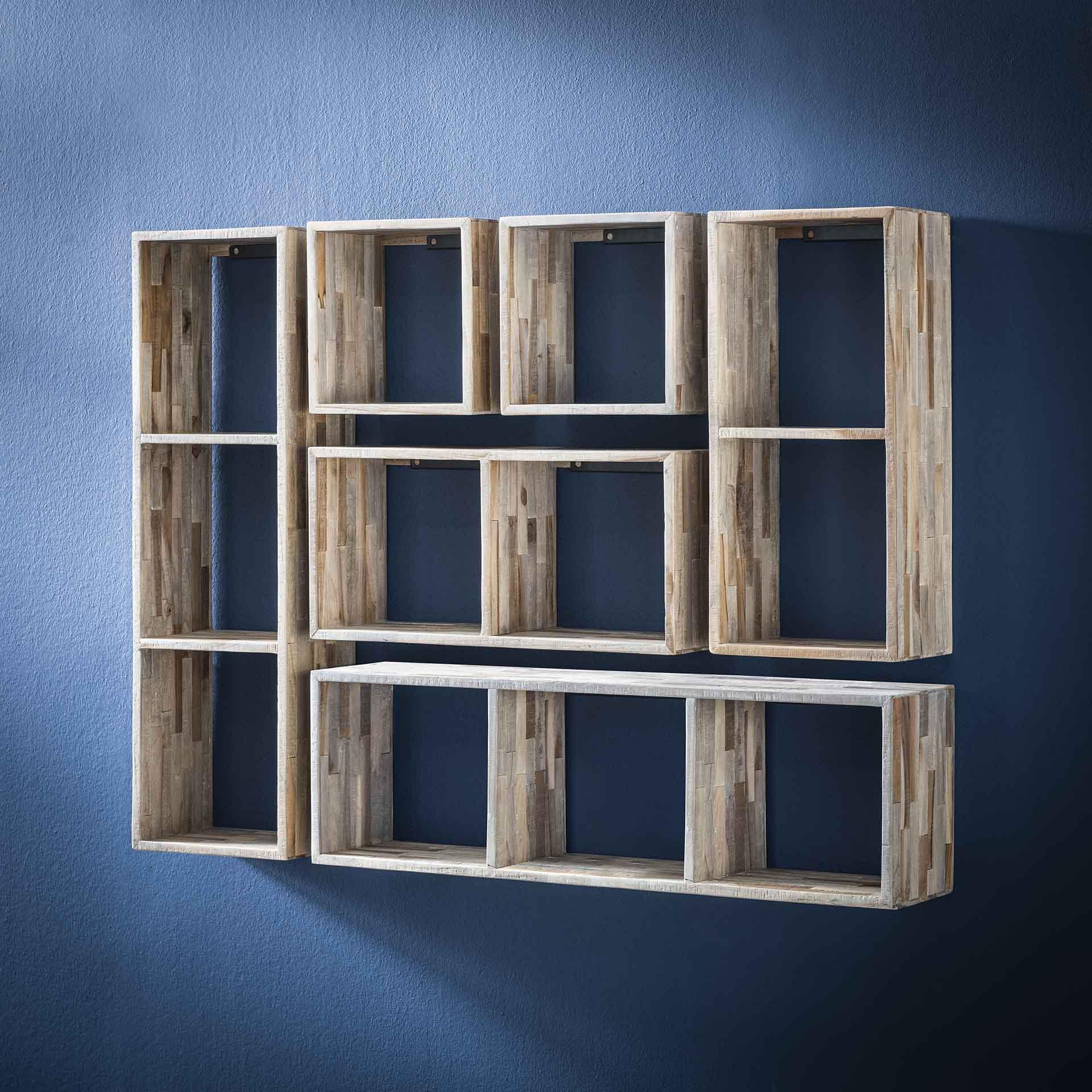 etagere cube bois de teck recycle finition vieillie 100 cm java etageres murales pier import