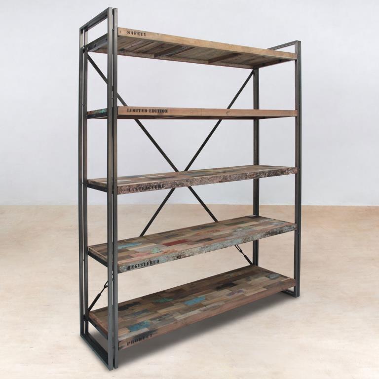 etagere industrielle bois metal caravelle