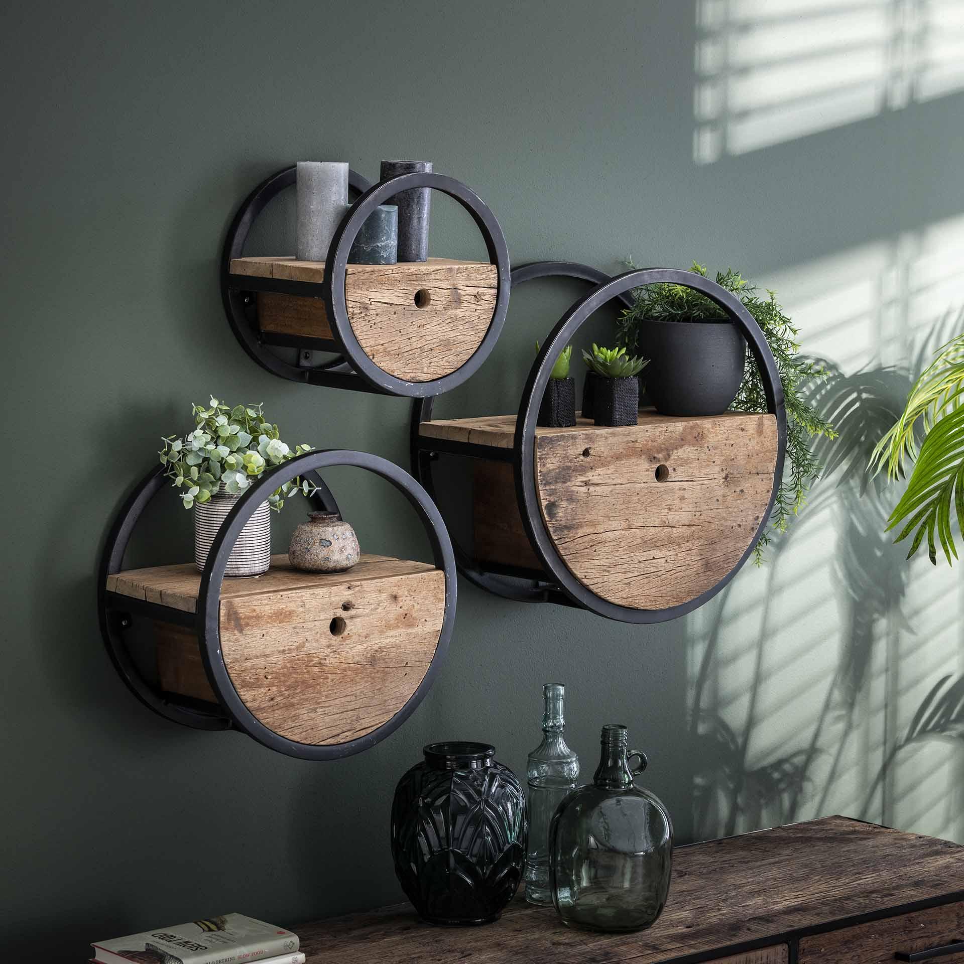 etagere murale ronde bois recycle brut 1 tiroir d50 cm cyclades etageres murales pier import