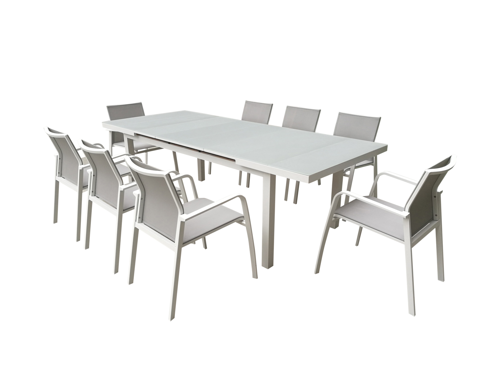 fauteuil de jardin nice en aluminium blanc gris et textilene couleur taupe