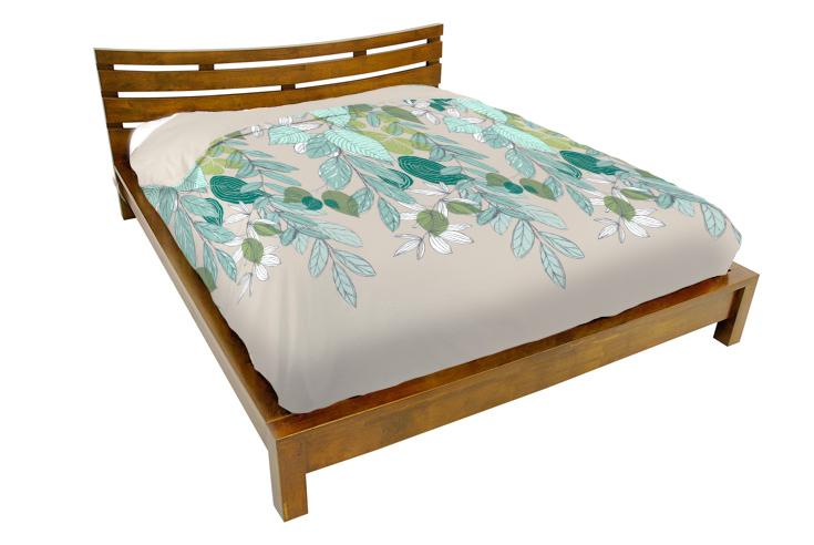 lit 2 places couchage 140x190 avec tete de lit basse hevea 156x204x80cm niagara
