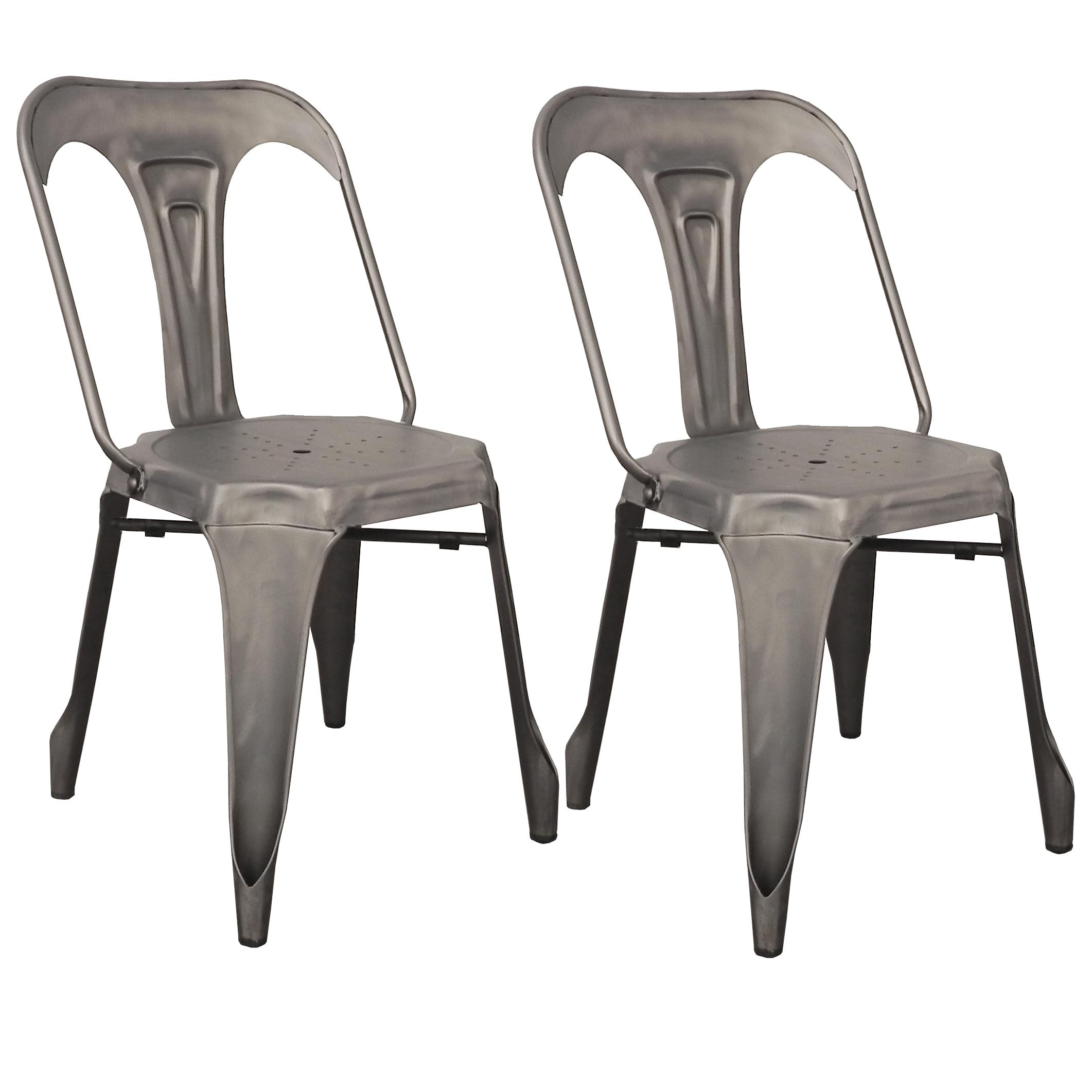 lot de 2 chaises style industriel en metal couleur chrome satine 44x53xh83cm ralf