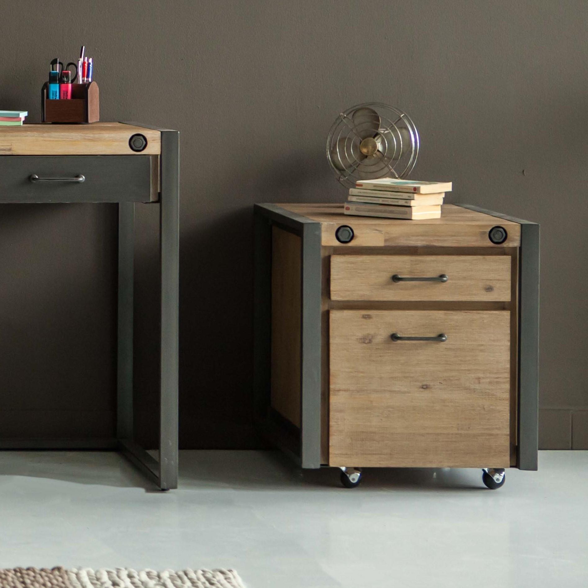meuble bas caisson de bureau a roulettes inspiration indus en acacia et metal 2 tiroirs 51x60x60cm brooklyn
