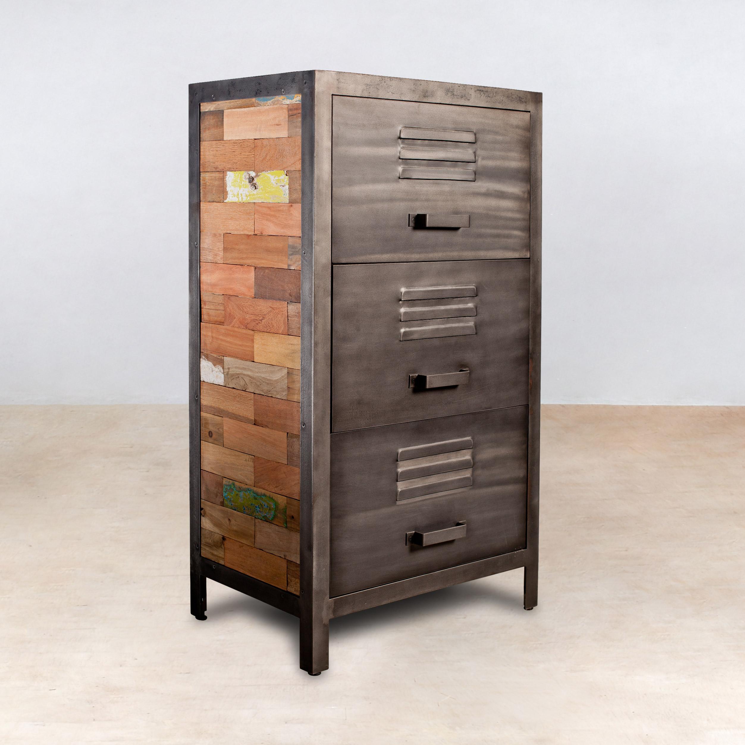 meuble de rangement bois recycle 3 tiroirs metal 60x40x110cm caravelle