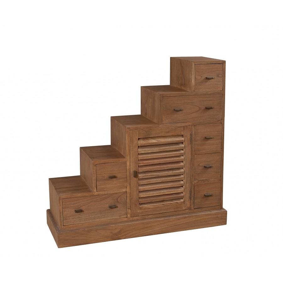 meuble escalier colonial double face 2 portes 7 tiroirs traversants l105 x p37 x h102cm louna