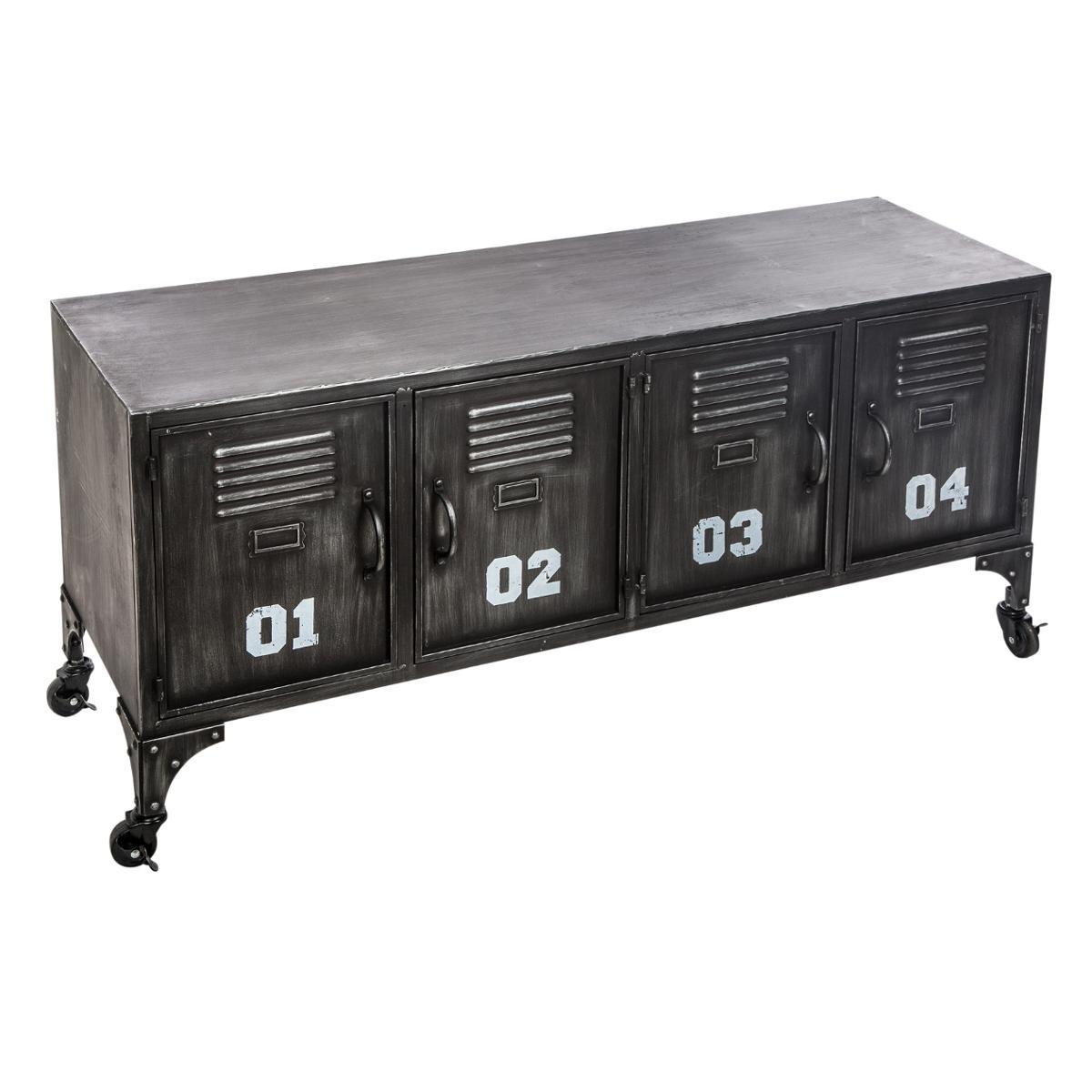 meuble rangement bas metal noir 4 portes ref 30022127