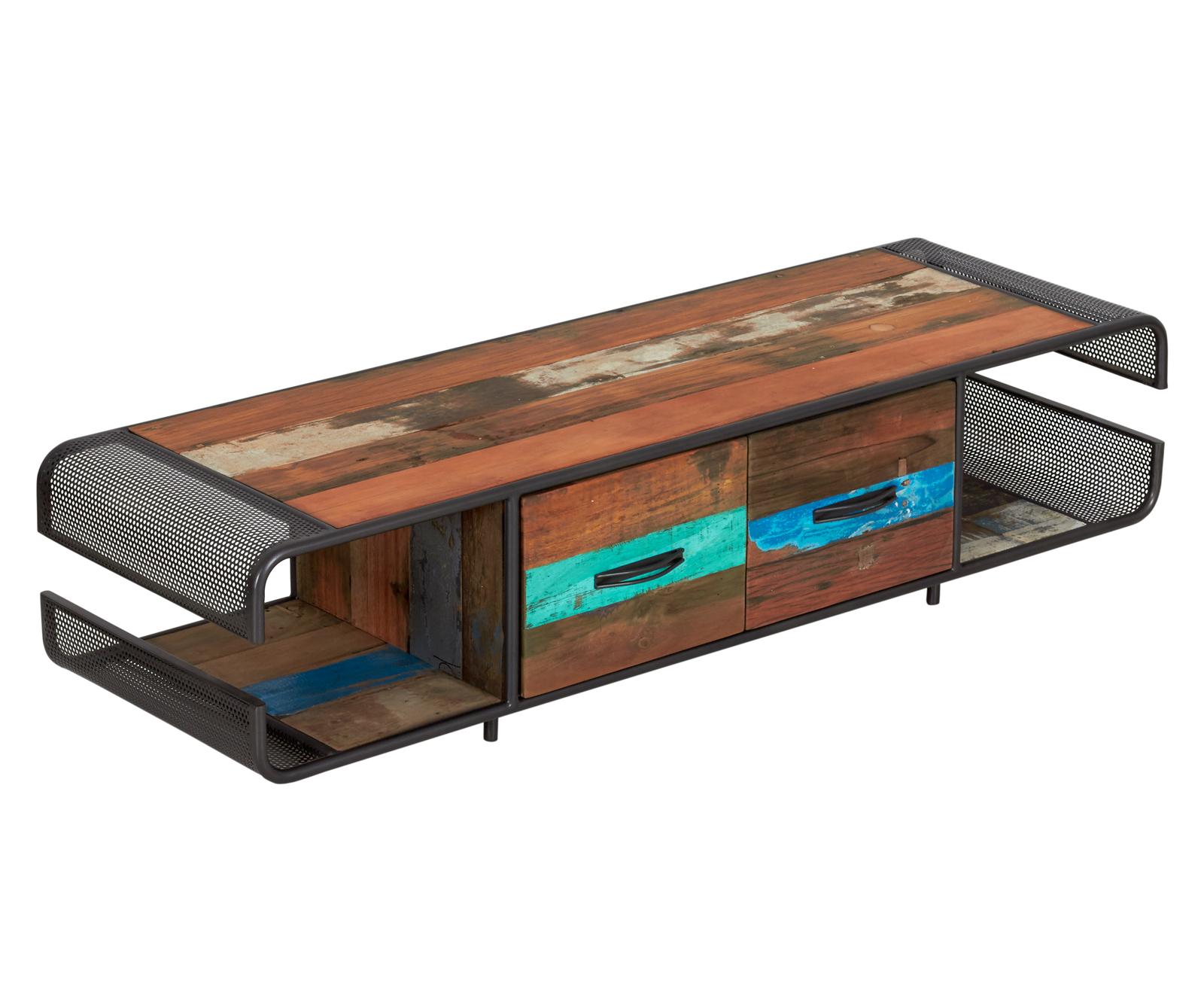 meuble tv 2 tiroirs bois recycle drakkar