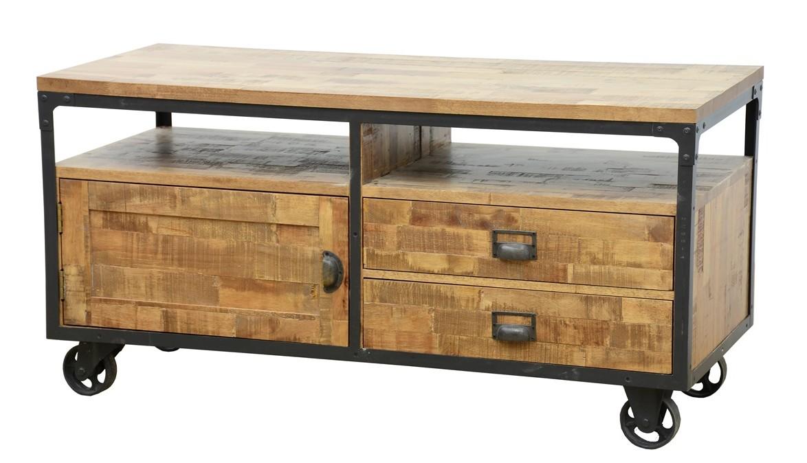 meuble tv a roulettes 1 porte 2 tiroirs 2 niches en hevea recycle naturel et metal 120x50x60cm loft
