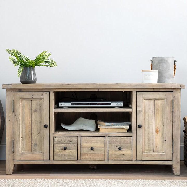 meuble tv avec rangement bois recycle clair salerne