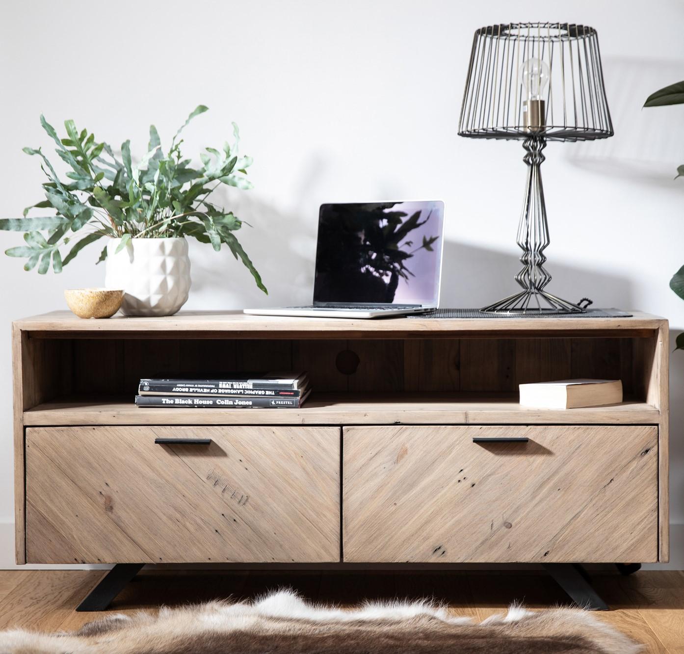 meuble tv avec rangement bois recycle vittoria