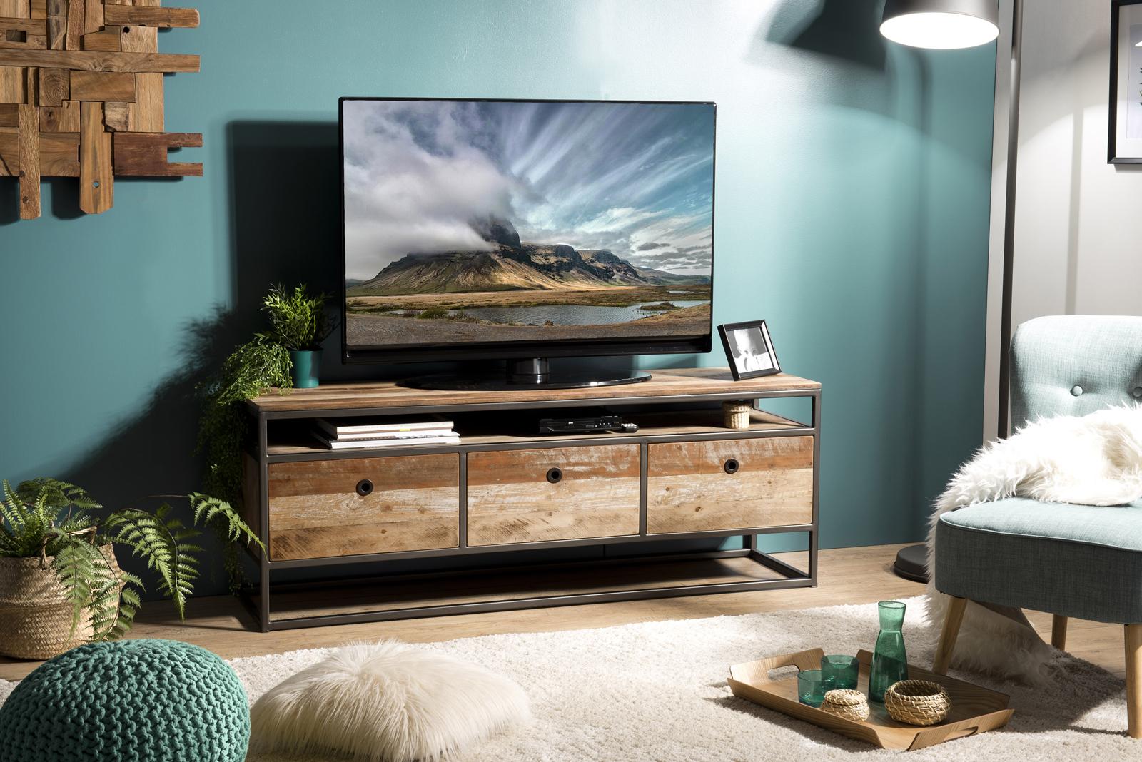 meuble tv avec rangement teck recycle swing