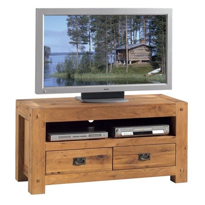 meuble tv bois de chene 2 tiroirs fjord