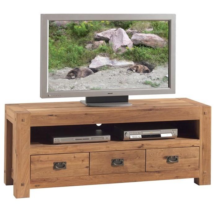 meuble tv bois de chene 3 tiroirs fjord