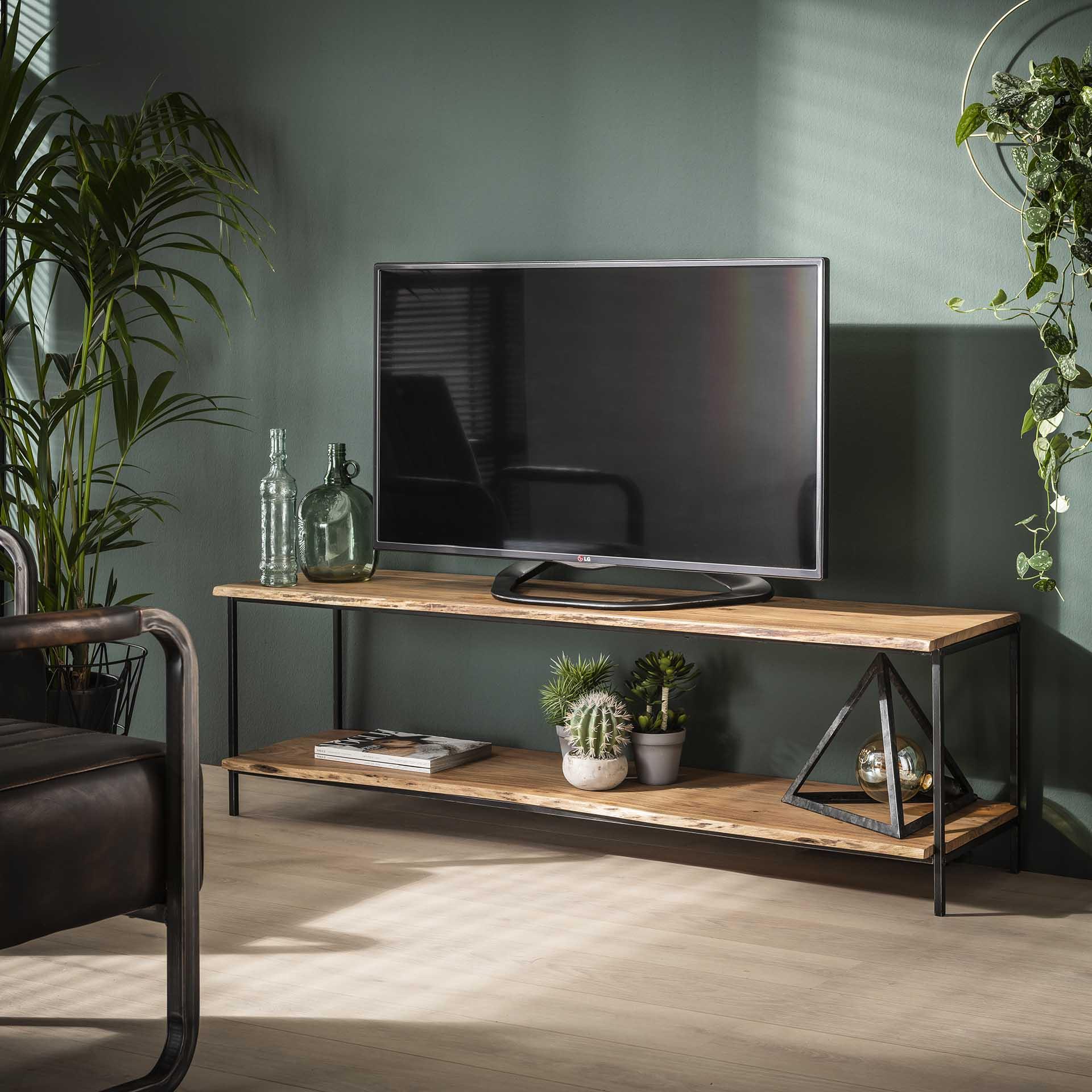 meuble tv bois massif d acacia bordure naturelle melbourne meubles tv pier import