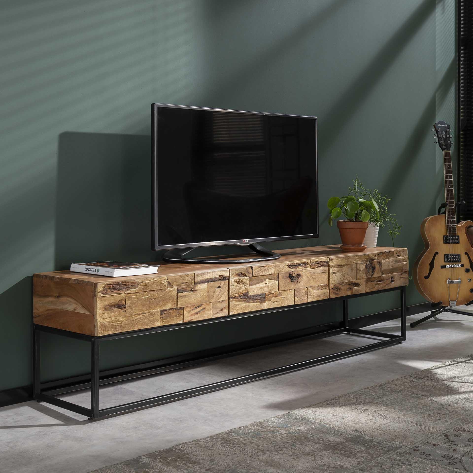 meuble tv bois massif d acacia sable 3 tiroirs perth