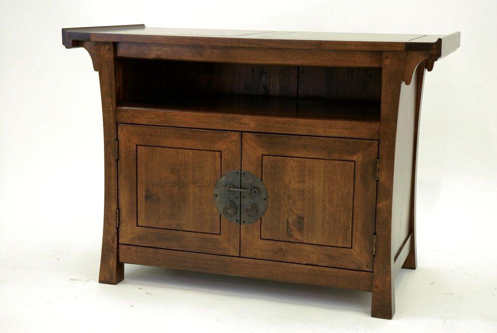 meuble tv bois massif style colonial maori