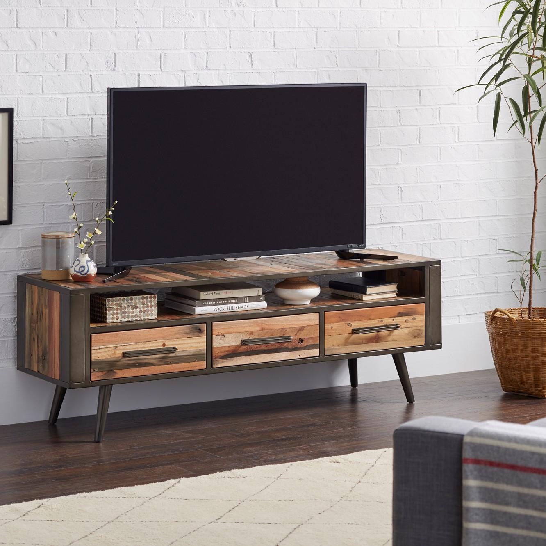 meuble tv bois recycle 3 tiroirs seattle